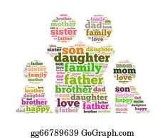 I-Love-You-Dad - Family Info Text Collage Composed In The Shape Of Man Female And Kids An I Solated On White