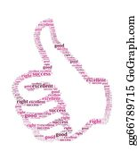 Number-One-Finger - Good Info Text Collage Composed In The Shape Of Hand With Thumb Up An Isolated On White