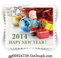 2014-Happy-New-Year-Box - Label For Seasonal Ads Or New Year Greeting Cards Stylized As Post Stamp