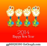 Year-2014 - Happy New Year 2014 Colorful Painti