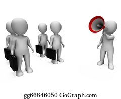 Management - Manager With Megaphone Shows Management Or Salesmen Meeting