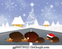 Christmas-Family - Hedgehogs At Christmas