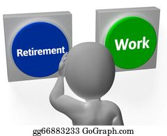 Retirement - Retirement Work Buttons Show Pensioner Or Employment