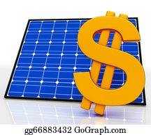 Solar-Panel - Solar Panel And Dollar Sign Shows Saving Energy