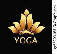 Golden-Lotus-Flower-Logo - Vector Of Yoga Gold Lotus Flower