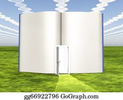 Medical-Textbook - Dna Clouds With Open Book Of Life