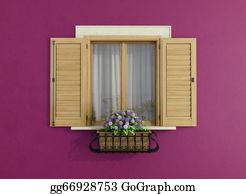 Flower-Pot - Purple Facade With Closed Windows