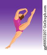 Gymnast - Gymnast Jumping Split