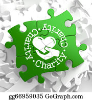 Fundraiser - Charity Concept On Green Puzzle Pieces.