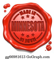Minnesota - Made In Minnesota - Stamp On Red Wax Seal.