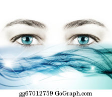 Eyelid - Blue Eyes And A Wave Of Crystal Water On White Background