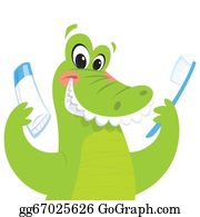 Croc - Happy Crocodile Holding Toothbrush And Toothpaste