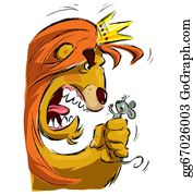 Fist - Cartoon Lion Holding A Mouse Frightening It