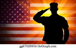 Armed-Forces - Proud Saluting Male Army Soldier On American Flag Background