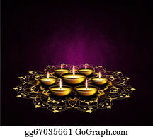 Paisley-Art - Oil Lamps With Place For Diwali Greetings Over Dark Background
