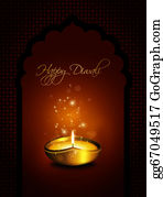 Paisley-Art - Oil Lamp With Diwali Greetings Over Dark Background