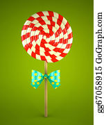 Lollipop - Lollipop With Bow On Green Background