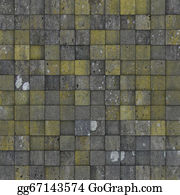 Spurs - Mosaic Tile Worn Old Wall Floor With Spurs Mold