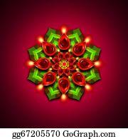 Rouge - Rangoli With Diwali Diya Elements Over Dark Background