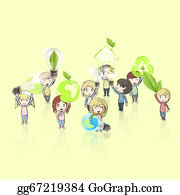 Recycle-Technology - Kids Holding Ecological Icons And Eco Bulbs. Vector Design.