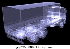 Tractor-Trailer - Big Truck. X-Ray