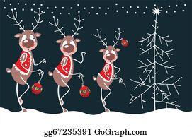 Reindeer-Christmas-Silhouettes - Merry Reindeer And Christmas Tree