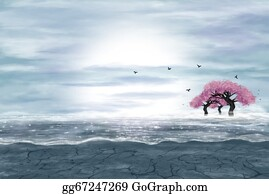 Flowering-Trees - Fantasy Landscape In Blue And Gray Colors
