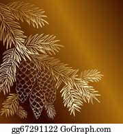 Christmas-Gold - Gold  Christmas Fir And Pinecone.
