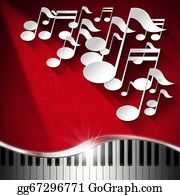 Music-Notes-On-Piano-Keyboard - Music Piano And Note Background - Red Velvet