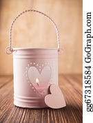 Flaming-Heart - Pink Candlestick.