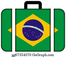 Suitcase - Suitcase With Brazil Flag