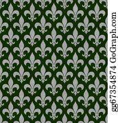 Fleur-De-Lys - Green And Gray Fleur De Lis Textured Fabric Background
