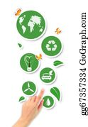 Ecological-Awareness - Hand Pointing Green Ecological Icons