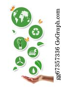 Ecological-Awareness - Hand Holding Green Ecological Icons
