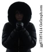 Freezing-Cold - Woman Winter Coat Freezing Cold Silhouette