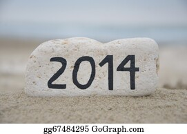 Happy-New-Year-2014 - Happy New Year 2014 On A Stone