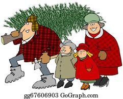 Christmas-Family - Family Carrying A Christmas Tree