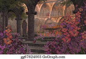 Gladioli - Old Monastery Garden Courtyard