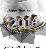 New-Year-2014 - Vector Happy New Year 2014 Reflection Wave Colorful Creative Design Illustration