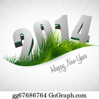 Happy-New-Year-2014 - Celebration 2014 Happy New Year Holiday Card For Grass Wave Design Vector