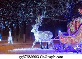 Reindeer-Christmas-Silhouettes - Christmas  Lights  Night  Ornament
