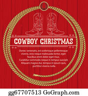 Cowboy-Boots - American Red Christmas Background With Cowboy Boots And Rope.