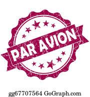 Air-Mail-Stamp - Par Avion Pink Vintage Round Grunge Seal Isolated On White Background