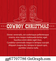 Cowboy-Boots - American Red Christmas Background With Cowboy Boots And Text.