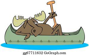Antler - Moose Paddling A Canoe