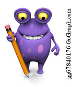 Humor - A Spotted Monster Holding A Large Pencil.