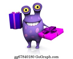 Humor - A Spotted Monster Holding Two Birthday Gifts.