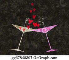 Martini-Glass - Tilted Champagne Or Martini Glasses With Hearts