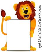 Cute-Animal-Cartoon-In-The-Jungle - Lion And Banner
