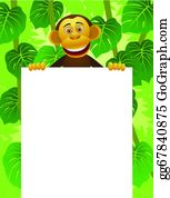 Cute-Animal-Cartoon-In-The-Jungle - Chimpanzee And Blank Sign